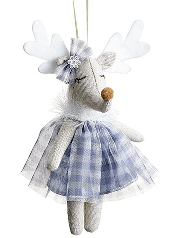 ''8'''' Moose in DRESS Ornament White Blue''